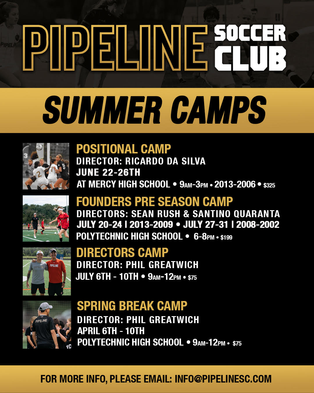 Pipeline Announces 4 camps for 2020